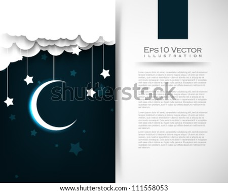 eps10 vector cloud star moon illustration
