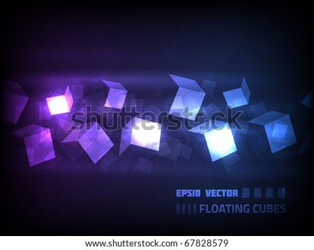 EPS10 vector cube design against dark background. Abstract cubes are floating in a horizontal direction
