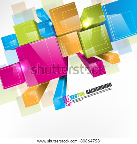 eps10 vector 3d colorful boxes in perspective view