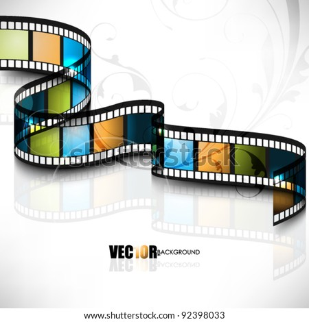 eps10 vector 3d film strip design with floral element in the background