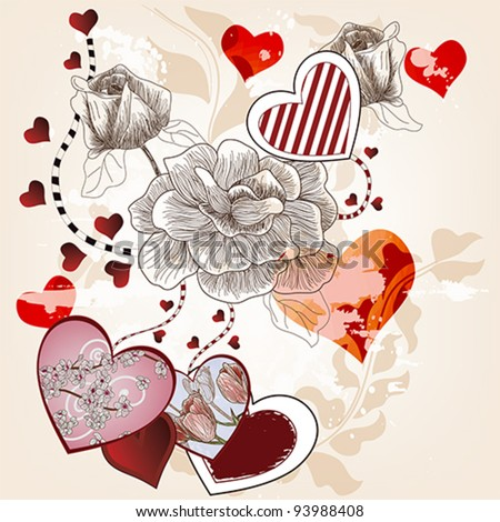 Eps 10 vector - fantasy valentine composition with hand drawn roses and different kinds of hearts - layers separated - easily editable