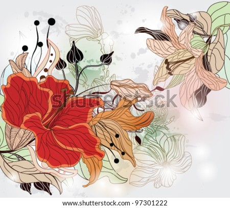 EPS 10 vector - floral background with hibiscus and different kinds of flowers
