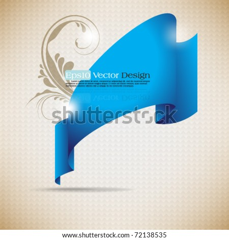 eps10 vector frame ribbon with foliage element
