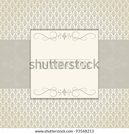 EPS 10 vector greeting card template in vintage style. Elements are grouped and layered for easy editing. Drop shadows are also on separate layers and easy to be removed.