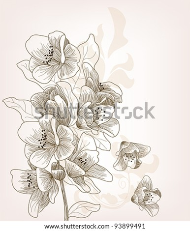 Eps 10 vector - hand drawn cherry blossom branch - layers separated - easily editable #93899491