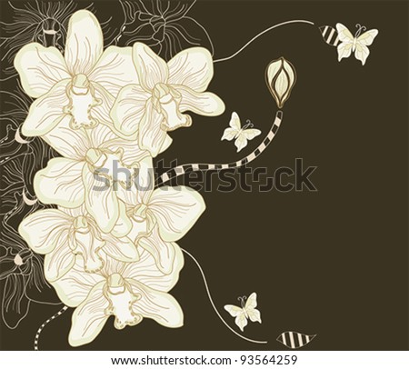Eps 10 vector - hand drawn orchid postcard - layers separated - easily editable
