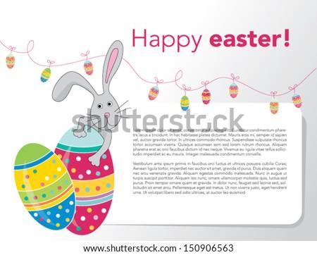 eps 10 Vector - Happy Easter Rabbit Bunny Banner