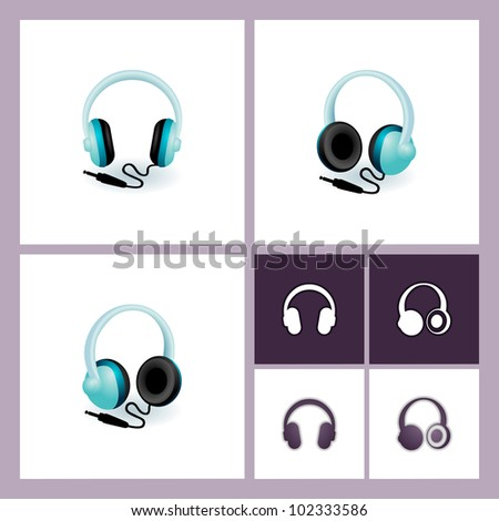 eps 10 vector headphones illustration and icon set