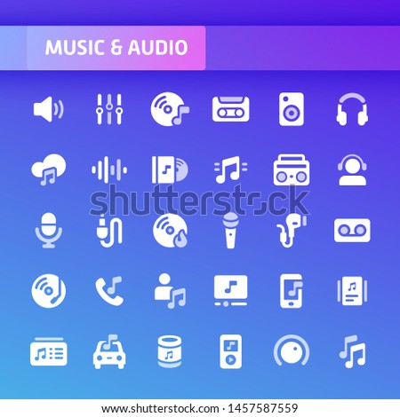 EPS10 vector icons related to music and audio. Symbols such as instrument, audio equipment and audio device are included.
