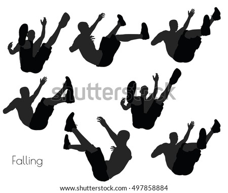 EPS 10 vector illustration of a man in Falling pose on white background