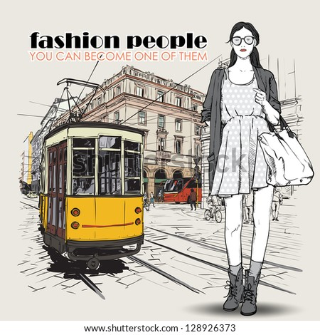EPS10 vector illustration of a pretty fashion girl and old tram Vintage style