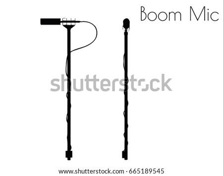 EPS 10 vector illustration of Boom Mic silhouette on white background