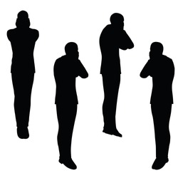 EPS 10 vector illustration of business man silhouette in anxious pose