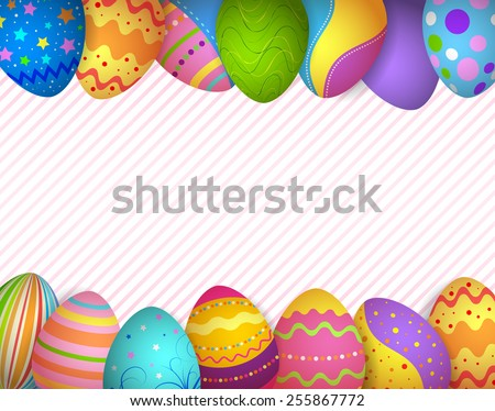 EPS 10 Vector Illustration Of Colorful Easter Eggs Frame And Background Are On Separate