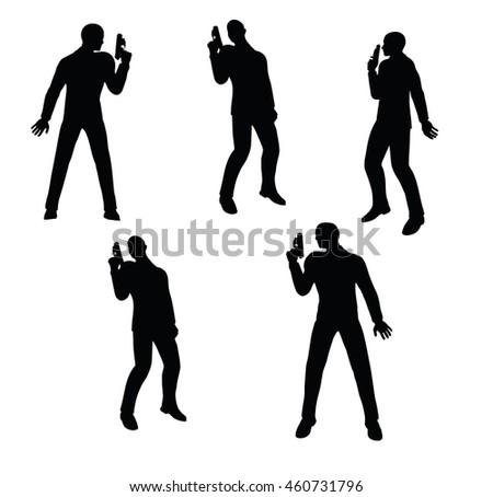 eps 10 vector illustration of gunman businessman silhouette in black