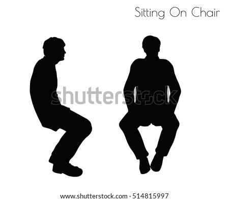 EPS 10 vector illustration of man in Sitting Pose On Chair pose on white background