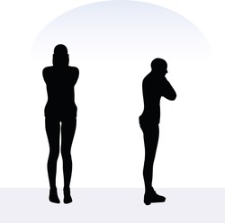 EPS 10 vector illustration of woman in anxious pose on white background