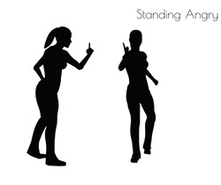 EPS 10 vector illustration of woman in Standing Angry pose on white background