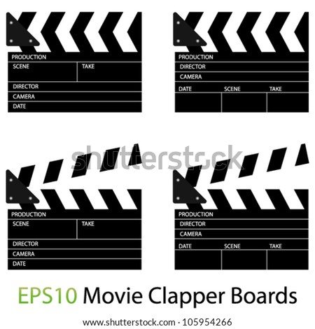 EPS10 Vector Illustrations of Movie Clapper Boards