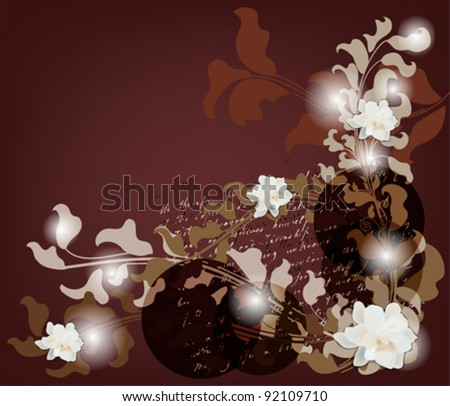 EPS 10 vector - invitation card with different kinds of baroque branches, gardenia flowers and space for text - All elements are on separate layers - easily editable
