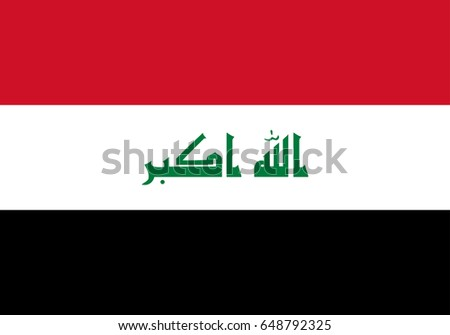 eps10 vector Iraq state flag. Iraqi national background. Original color symbol. Horizontal stripes with arabic writing emblem icon. Graphic clipart design sign mockup. Editable template for web, print
