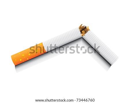 eps8 vector isolated broken cigarette - detailed realistic illustration
