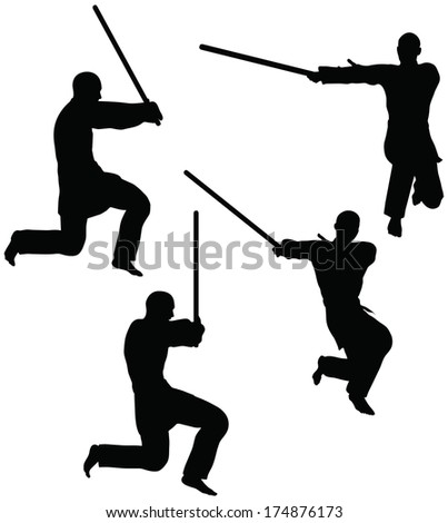 EPS 10 Vector - Karate martial art silhouettes of man and woman in sword fight karate poses