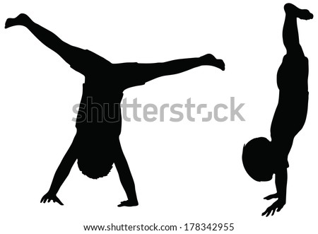 Silhouettes in position of Cartwheel isolated on white  - stock vectorGymnastics Silhouette Cartwheel