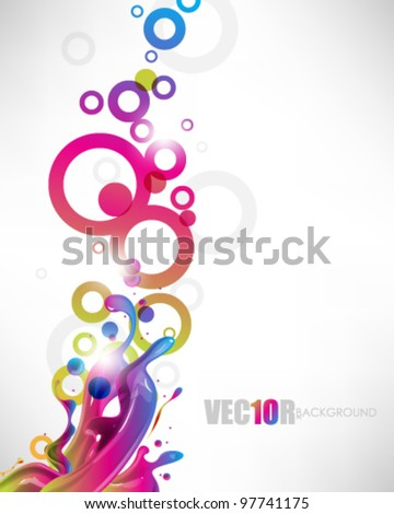 eps10 vector multicolor ink splash with rings design