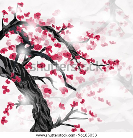 EPS 10 vector - oriental style painting, cherry blossom in spring on a crumpled paper