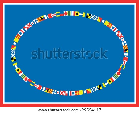 EPS8 Vector oval red, white and blue nautical flags border or frame.
