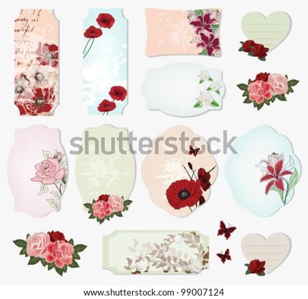 Eps 10 vector - precious set of vintage labels with flowers