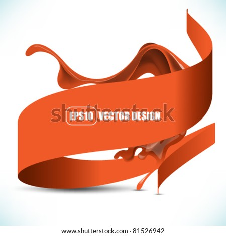 eps10 vector ribbon icon with flowing ink element design