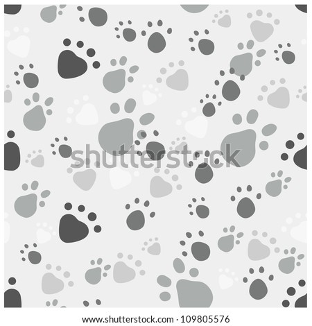 Eps 10 vector seamless pattern with pet legs' imprint in monochrome gray colors - stock vector