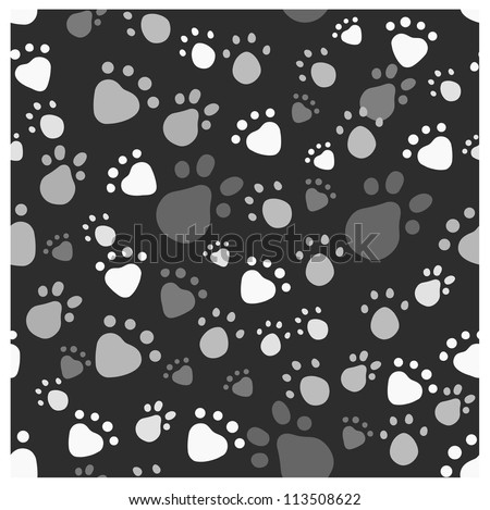 Eps 10 Vector Seamless Pattern With Pet Legs 39 Imprint In