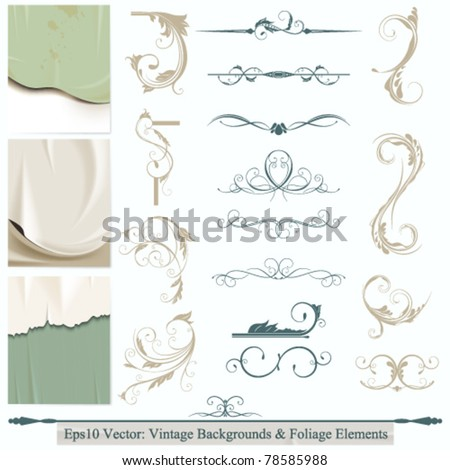 eps10 vector set of calligraphic flourishes elements for your background design