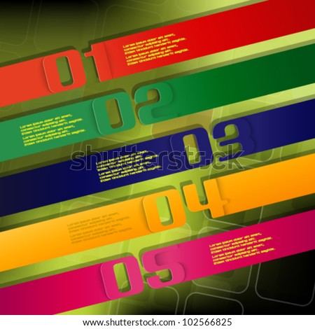 eps10 vector set of colorful numbered banner