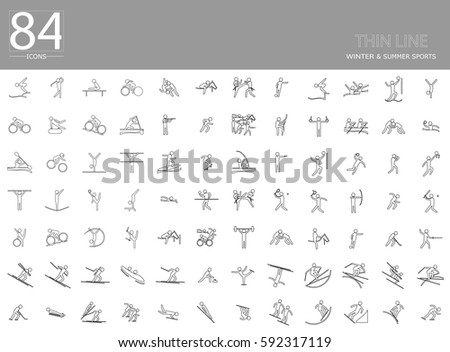eps10 vector set of 84 winter and summer thin line sport icons. Silhouette sport sign collection. Indoor and outdoor activities, single and team sport included. Clip art for design, mobile, web, print