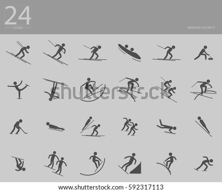 eps10 vector set of 24 winter sport icons. Silhouette sport sign collection. Indoor and outdoor activities, single and team sport included. Graphic illustration clip art for design, mobile, web, print