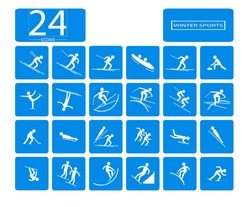 eps 10 vector set of 24 winter sport icons. Silhouette sport sign collection. Pyeongchang indoor and outdoor activities, single, team sport included. Graphic clip art for design, mobile, web, print