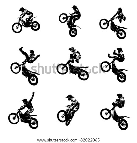EPS10 vector silhouettes. Freestyle motocross jumps.