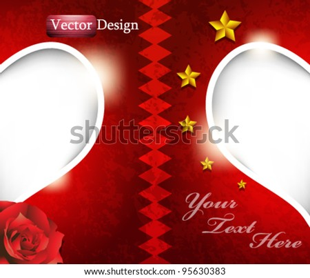 Eps10 Vector Valentine Scrap Book Concept Background Design