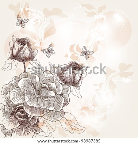 Eps 10 vector - vintage composition with hand drawn roses butterflies and space for text - layers separated - easily editable