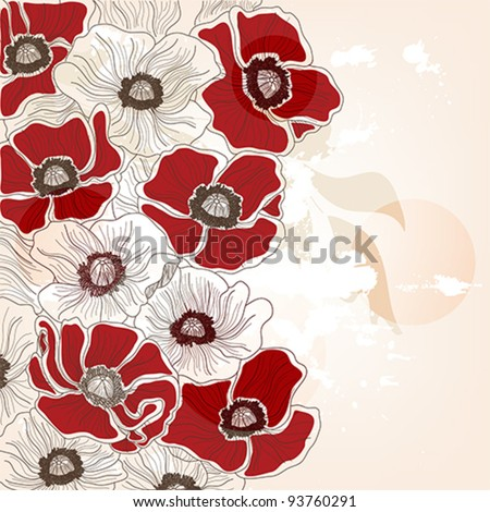 Eps 10 vector - vintage hand drawn poppies background with space for text - layers separated . easily editable