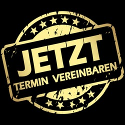 EPS 10 vector with round golden colored stamp with banner and text arrange meeting now (in german)