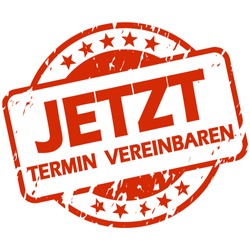 EPS 10 vector with round red colored stamp with banner and text arrange meeting now (in german)