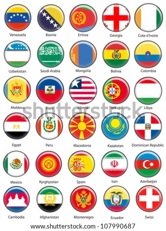 EPS10 Vector World Flag Buttons - Pack 8
