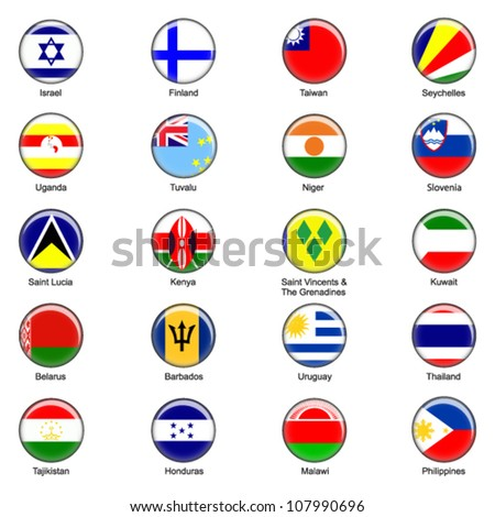 EPS10 Vector World Flag Buttons - Pack 5