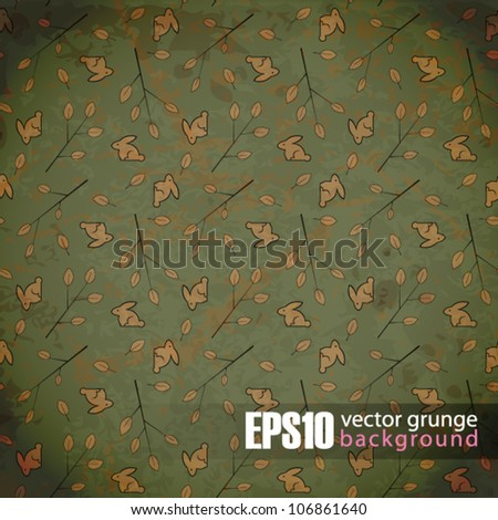 EPS10 vintage background with leafs and rabbits