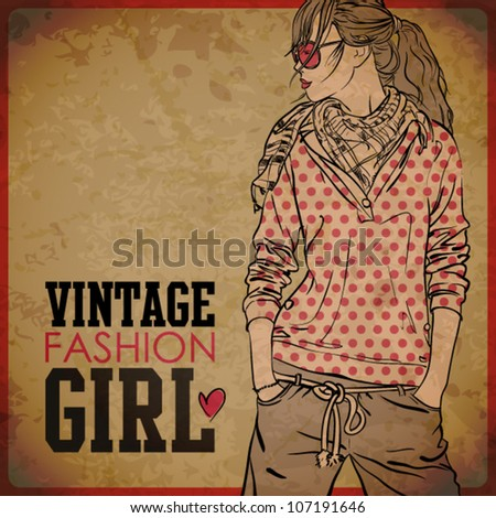 EPS10 vintage background with pretty autumnal girl - stock vector